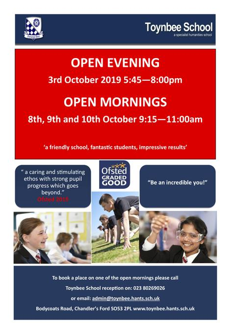 Year 6 Toynbee Open Morning / Evening