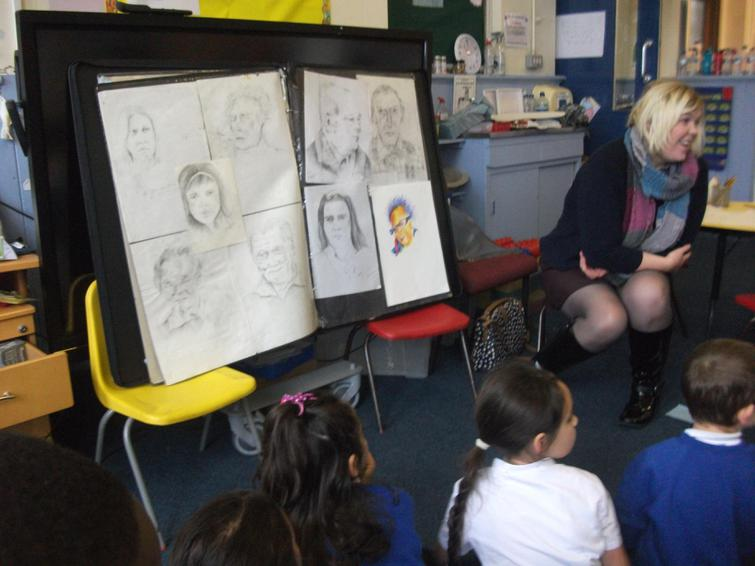 Artist Sarah speaking to class 2C