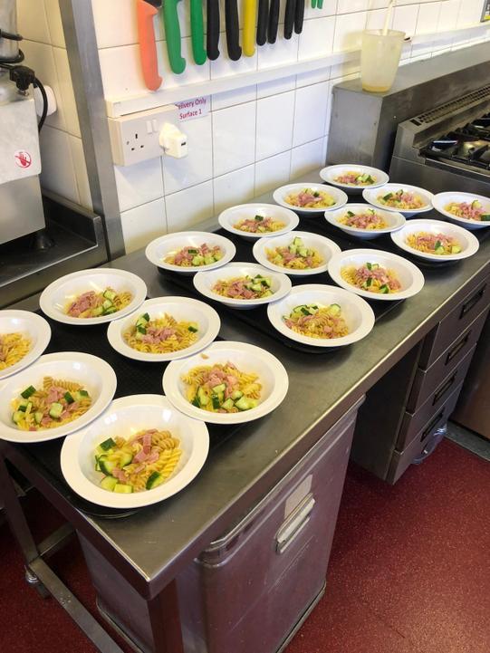 Ham and cucumber pasta bowl