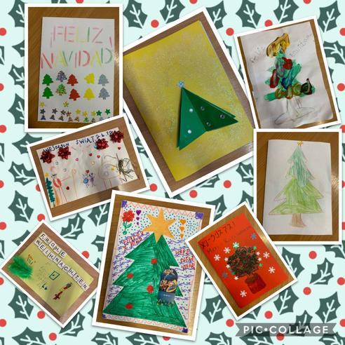 International Christmas cards created at home by Firecrest Class