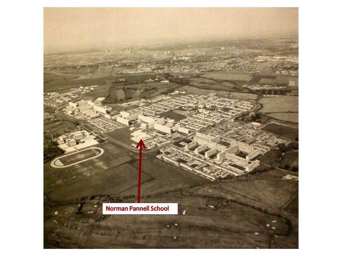 Aerial view of Netherley and Norman Pannell 1980s