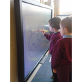 Children get creative on the interactive screen