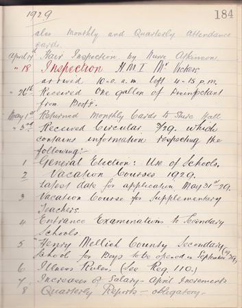 log book school inspection 1929