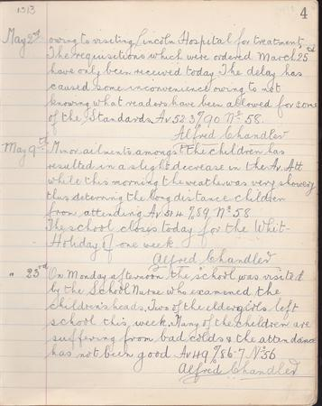 school log book May 1913