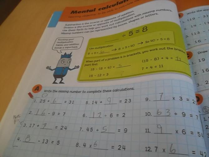 MS has been busy working through her maths work