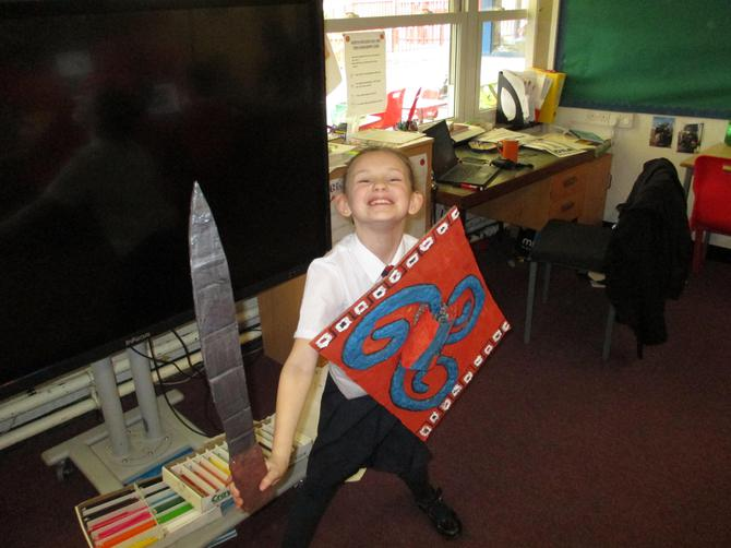 Jodie with an amazing Greek Shield!
