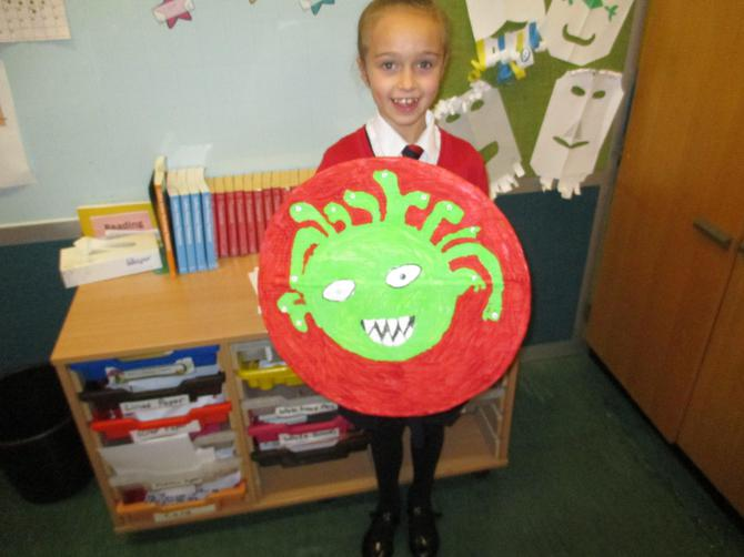 Lara with her Medusa shield