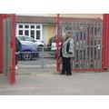 Mrs Walker our headteacher welcomes the children back to school