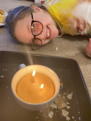 FM made her own candle from scratch! Well done!