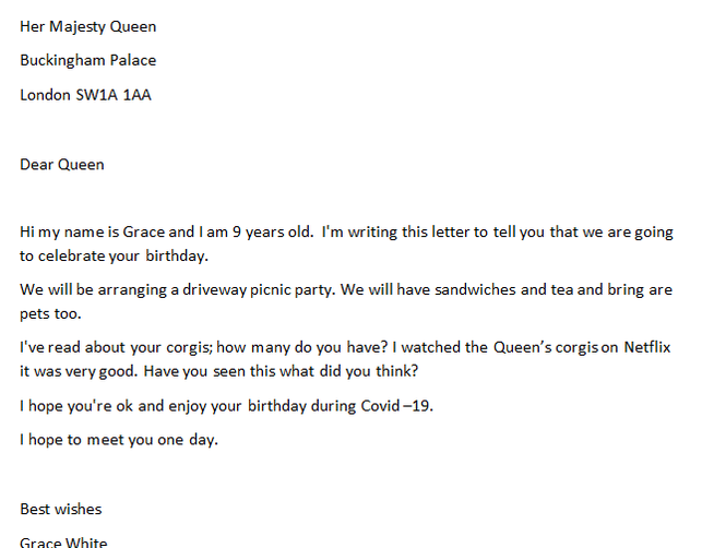 GW has written the Queen a letter post birthday