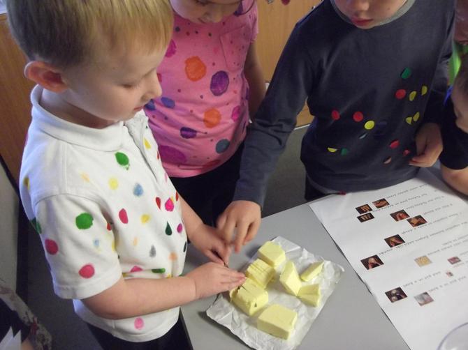 Cutting up butter