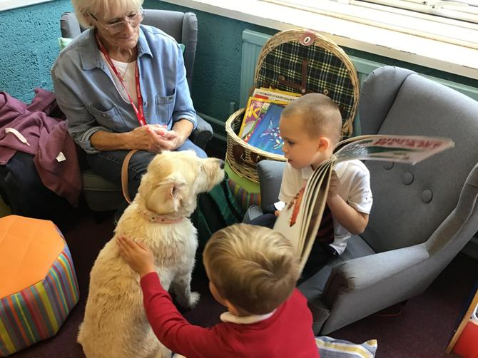 Poppy the reading dog visited Explorers.
