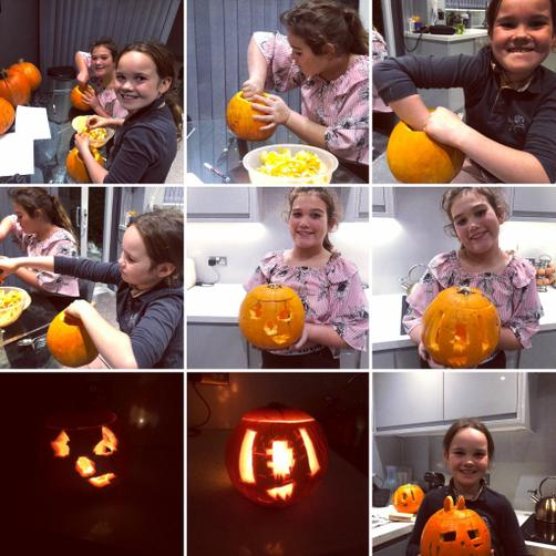 And carving pumpkins with her sister