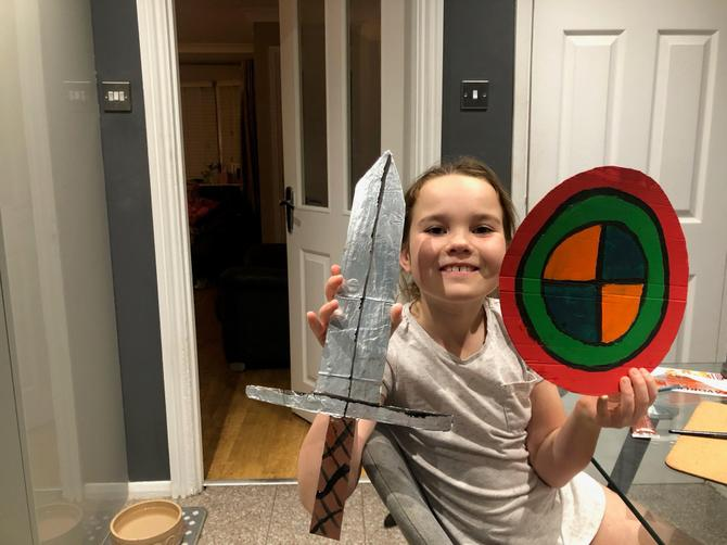 And has made a fab sword to match her shield