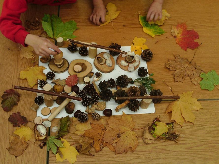 Autumn art work in Oak Class