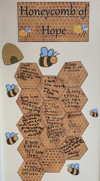Year 2 have been decorating their honeycombs of what 'Hope' means to them for Harvest.