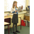 Molly reading her story on the 'Main Stage'