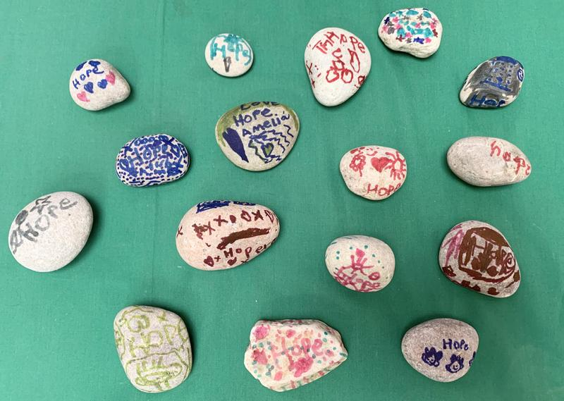 Year 2 have been busy decorating their worship stones, thinking about our value of 'Hope'.