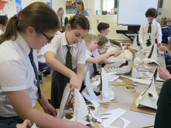 Year 5 and 6 making dragons