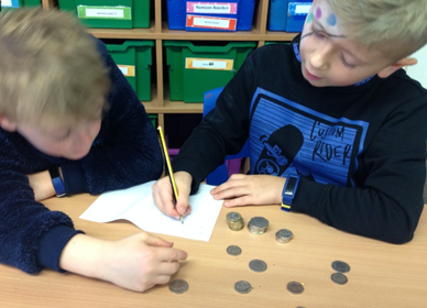 Real Life Maths -Year 1 and 2 adding up the money collected for Children in Need cake sale