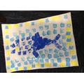 Finished printed Roman fish mosaic