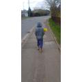Finley off on a walk.