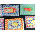 Some of our finished Roman printed fish mosaics
