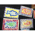 Some of our finished Roman fish mosaics
