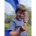 James enjoying a yummy ice lolly.