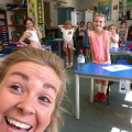 It took Miss Gibbons a while to take this selfie .