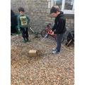 Jack testing cardboard.