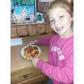 We made pizzas and cooked them at home - they were yummy!