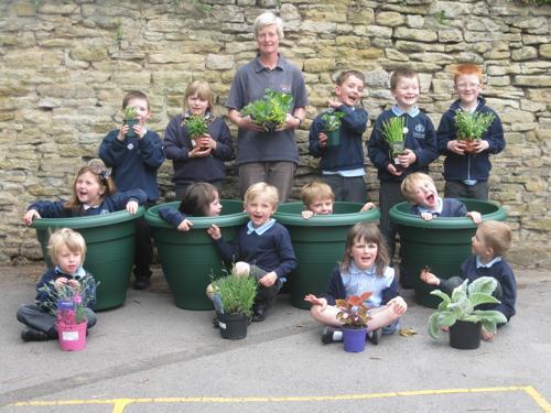 Planting pots for our Sensory Garden 2011