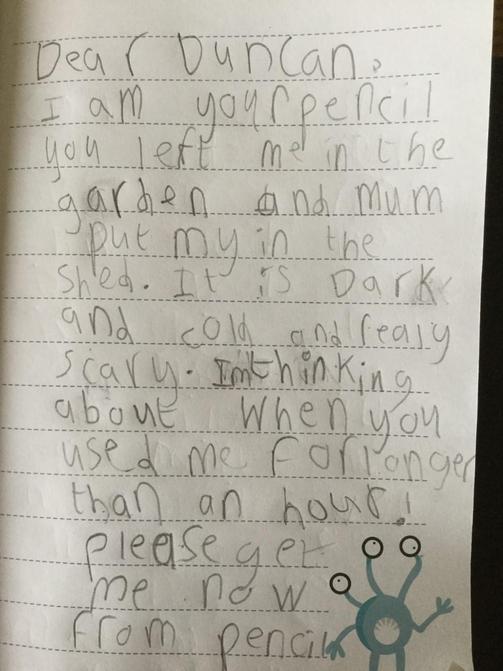 Jack's literacy letter