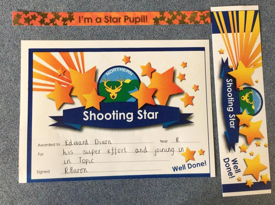 Well done to our Shooting Star this week 8th October 2021