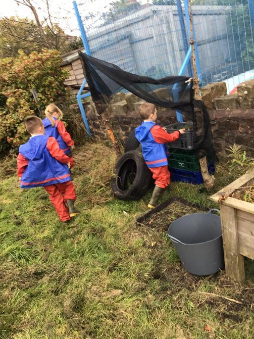 Creating using the den making equipment.