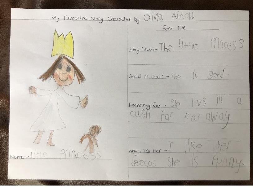 Olivia's book character writing.