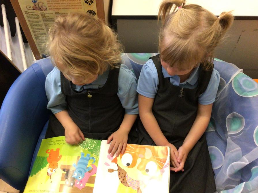 Sharing books together.