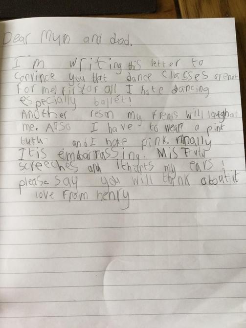 Jack's Horrid Henry letter