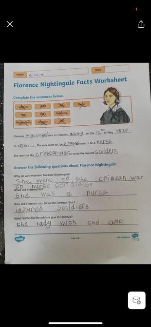 Elsie's history work.