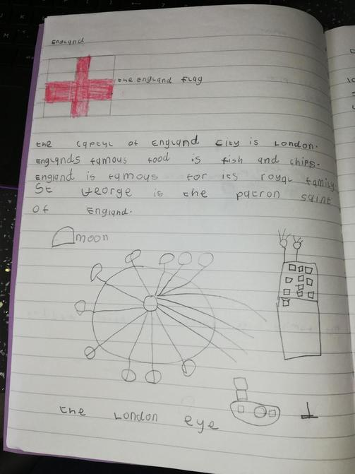 Elsie has been researching England today!
