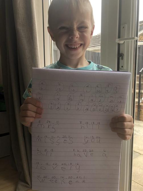 Look how proud Luke is of his work!