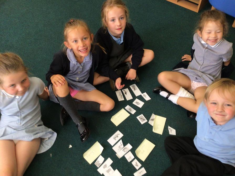 Working together to decide on groups.