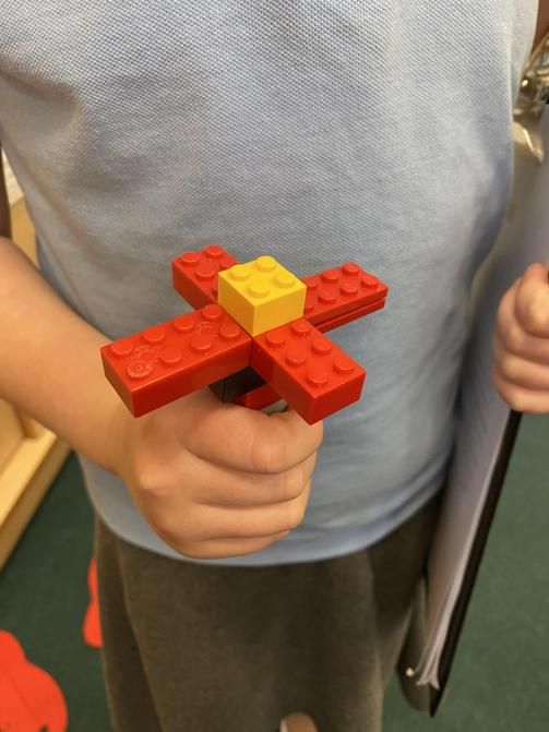 We made Lego poppies in the construction area.