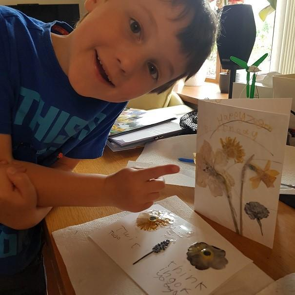 Edward making pressed flower cards