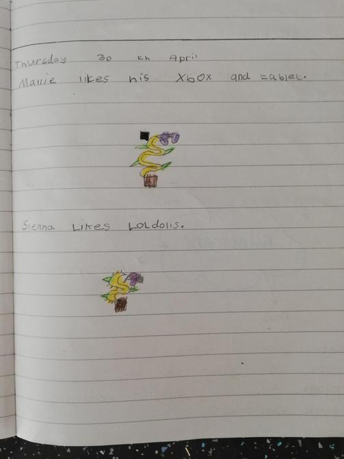 Elsie's plant writing.