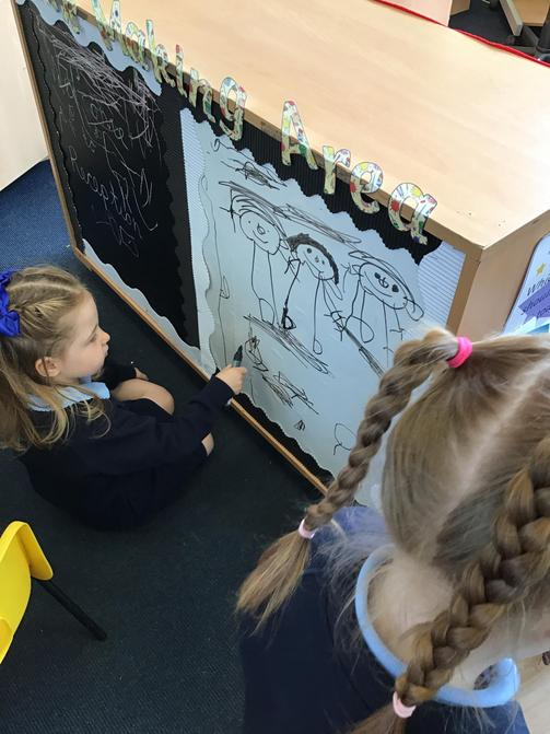 Using our large whiteboard