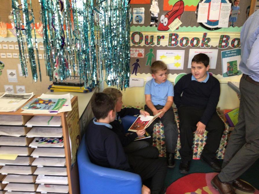 Enjoying reading together.