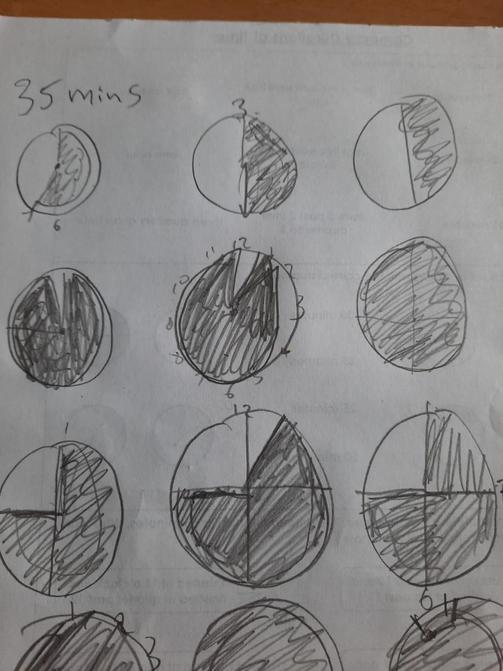 Alice drew clocks to help with her maths work....
