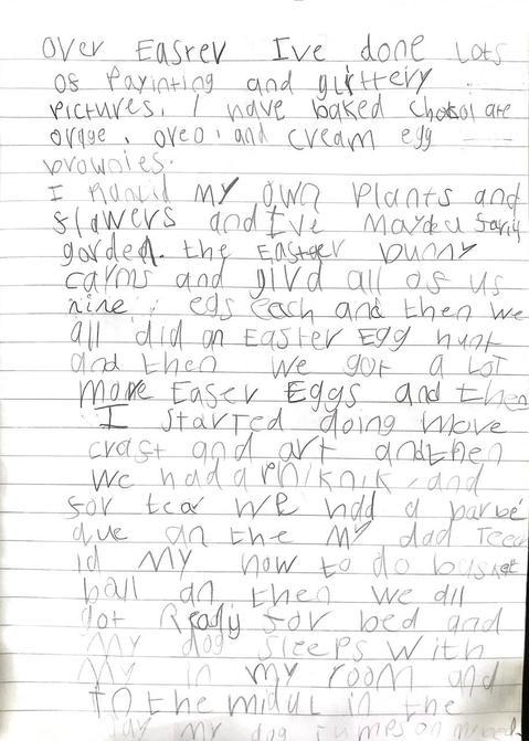Lottie's busy Easter writing!